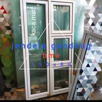 jendela aluminium 80x150 gandeng 3hidup 1mati casement