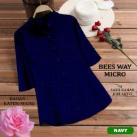 Baju Atasan Wanita Muslim TUNIK BEES WAY MICRO Motif Kotak - navy, XL