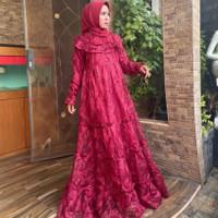 Kebaya Gamis Tulle Brukat Modern Baju Dress Brokat Tille Pesta Mewah - Maroon, M