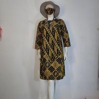 baju dress tunik batik wanita cap tulis modern - M