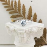 cincin emas putih mata satu diamond look UBS