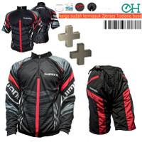 Baju Jersey Celana Kaos Sepeda Gunung Merah Shimano Setelan Set