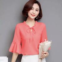Blouse wanita cantik Korean Beauty Style variasi tali pita terbaru