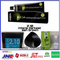 cat rambut L'oreal inoa 2.10 intense darkest ash brown + oxidant inoa