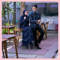 baju couple / dress couple / gamis brukat / dress lamaran / dress - navy, Cwo XL Cwe XL