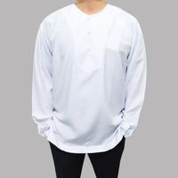 Baju Koko Pangsi Pria Dewasa Muslim Lengan Panjang Sunda Betawi-Putih