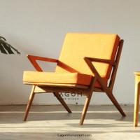 Single Kursi Minimalis Kayu Jati Solid (Customizable Color)