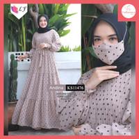 FS464 Baju Gamis Wanita Andina Dress Muslim All SIze