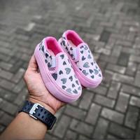 Sepatu Anak Peremouan Vans slip On Pink Love Kids size : 16-35 - 16/17