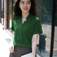 blouse atasan baju wanita polos merah marun tua biru navy dongker blus