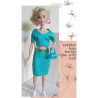 Setelan Baju Mainan Boneka Barbie Berbie Berbi Barbi - Hijau