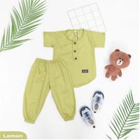Baju Bayi / Setelan Baju Koko Bayi / Koko Haikal / Jumpsuit Bayi - Lemon, 0-6 bulan