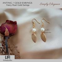 Anting mutiara simple pearl gold earings elegance jewelry lantern