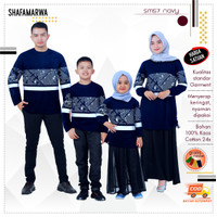 Baju Couple Atasan Sarimbit Keluarga Ayah Bunda Anak SM57 Navy - Cewek, Dewasa 5XL