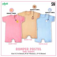 ARUCHI Romper Bayi - Baju Kodok Segiempat 3-12 Bulan (PASTEL GIRL) - CANDY PINK, Size S