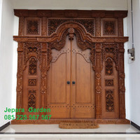 Pintu Rumah Gebyok Kayu Jati Ukir Jepara Ukuran 3 Meter