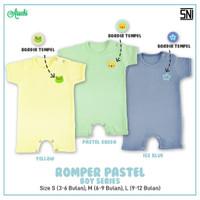 ARUCHI Romper Bayi - Baju Kodok Segiempat 3-12 Bulan (PASTEL BOY) - ICE BLUE, Size S