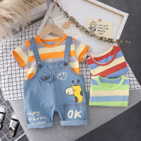 Setelan Baju Anak Import Overal Jeans Jerapah + Tshirt Salur
