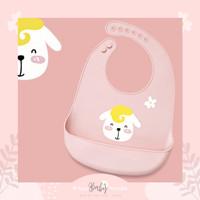 Momo Bib -Celemek Silicon Bayi- Celemek anak - Pink Dog