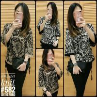 582 Atasan/blus rajut wanita motif batik tangan lonceng/terompet - mocca, All Size