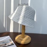 Lace Bucket Hat - Topi Pantai Wanita Korea Musim Panas Fashion Mesh UV - Putih