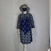 baju batik wanita dress tunik cap kombinasi tulis modern - M