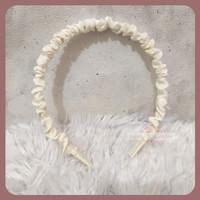 Korean Bando Scrunchie / Bando Korea Kerut / Ikat Rambut - White
