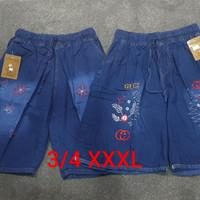 Celana Pendek Wanita Jumbo Uk XXXL 3/4 Bordir - Biru