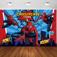 Custom Backdrop ulang tahun spiderman superhero dekorasi banner pesta - 1x1 m