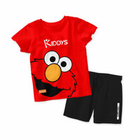 Baju Setelan Kaos Anak Kiddys Motif Sablon Elmo Warna Merah [KDS26]