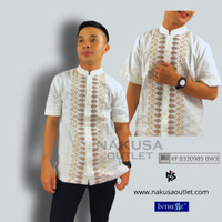 INTRESSE - Atasan Pria Baju Koko Lengan Pendek Dewasa Putih E3
