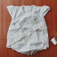 Jumper Dress Putih Bordir Bunga 3-12 bulan All Size