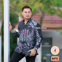 Batik Pria Lengan Panjang Premium Baju Kemeja Batik Aluna Solo BAP112
