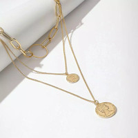 Multilayered Necklace, Coin Necklace, Korean Style Necklace, Kalung