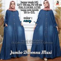 Baju gamis wanita muslim bahan jeans, gamis jeans jumbo - Davonna
