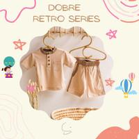 SURICACA Kaos Bayi Celana Pendek Setelan Baju Anak - Retro Series 1B - Cokelat, XL