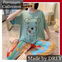 Piyama wanita set motif garfield spandex / baju tidur remaja dewasa