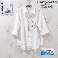 Kemeja / Shirt / Wanita / Cewek Putih Bordir Bunga XXL