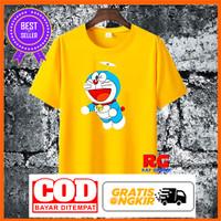 Kaos Doraemon - Baju Doraemon Wanita Pria Kuning Katun Size S M L XL - Kuning, S