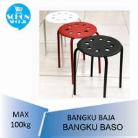 Bangku Baso / Kursi Bakso Baja MRRIUS Hitam / Merah / Putih