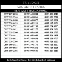 Nomor Cantik Tri 4G LTE 11 Digit ABAB AABB Kartu Perdana Three Murah