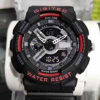 Jam tangan pria DIGITEC DG 2020 double time original - full black