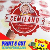 stiker label Kemasan bahan cromo dan free cutting (desain sudah ada)