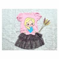 Setelan Baju dan Rok Elsa Frozen Anak Perempuan Cewek - Pink-Abu tua