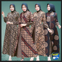 Baju Atasan Wanita Muslim Gamis Batik Wanita Dress Terbaru Ld 110 cm - liris F, LD 110