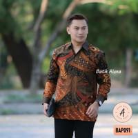 Batik Pria Lengan Panjang Premium Baju Kemeja Batik Aluna Solo BAP091 - M