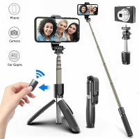 Tongsis Bluetooth 4in1 Selfie Stick Tripod Remote Action Cam