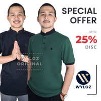 Baju Kaos Polo Shirt Kerah Sanghai Jumbo Big Size Laki Pria Wyloz Six - Hitam, M