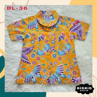 Kemeja Batik Anak Perempuan Baju Hem Cewek kuning Usia 5-14 tahun BL36