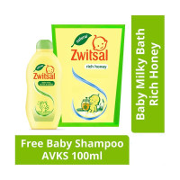 Zwitsal Baby Milk Bath With Rich Honey Refill 450 ml Free Baby Shampo
